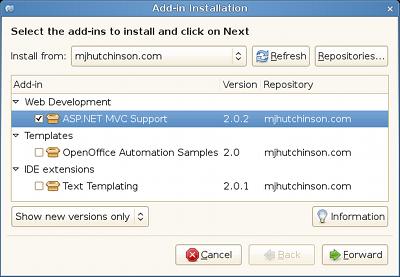 Installing the ASP.NET MVC Addin