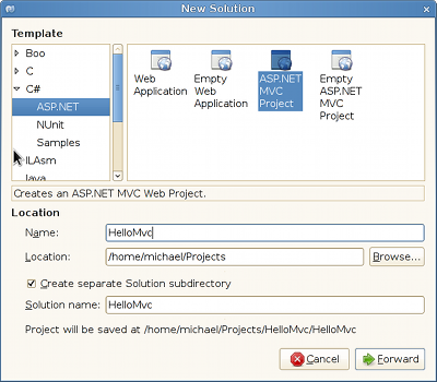 Creating a new ASP.NET MVC project