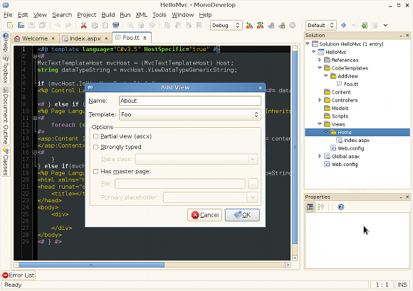 The Add View dialog showing a custom TT template