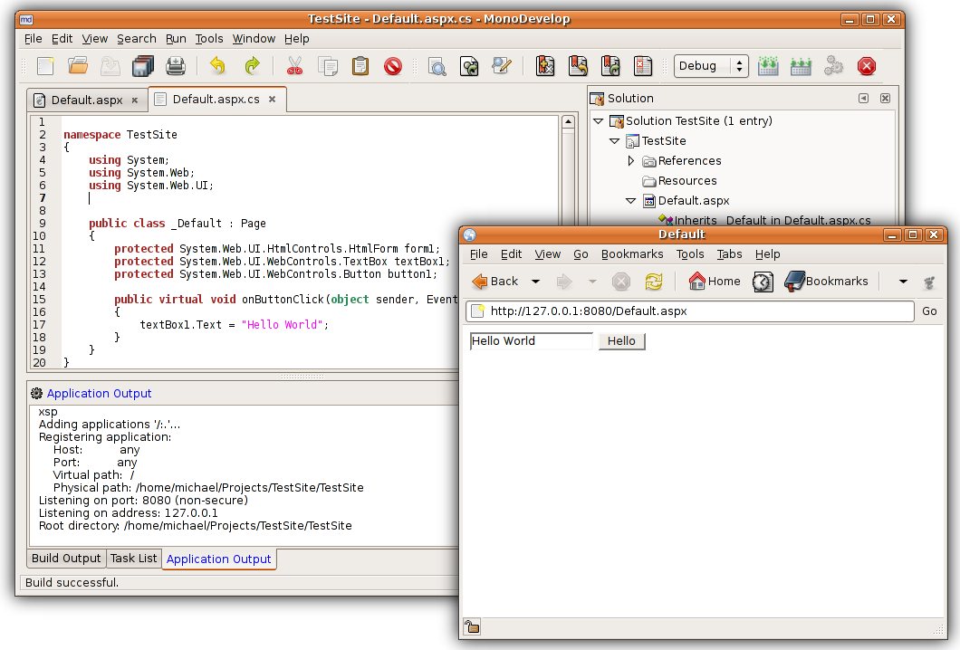 Screenshot of MonoDevelop ASP.NET addin