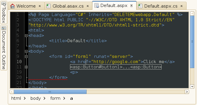 Screenshot of an ASP.NET file in MonoDevelop with error underlining, code folding and a path bar.