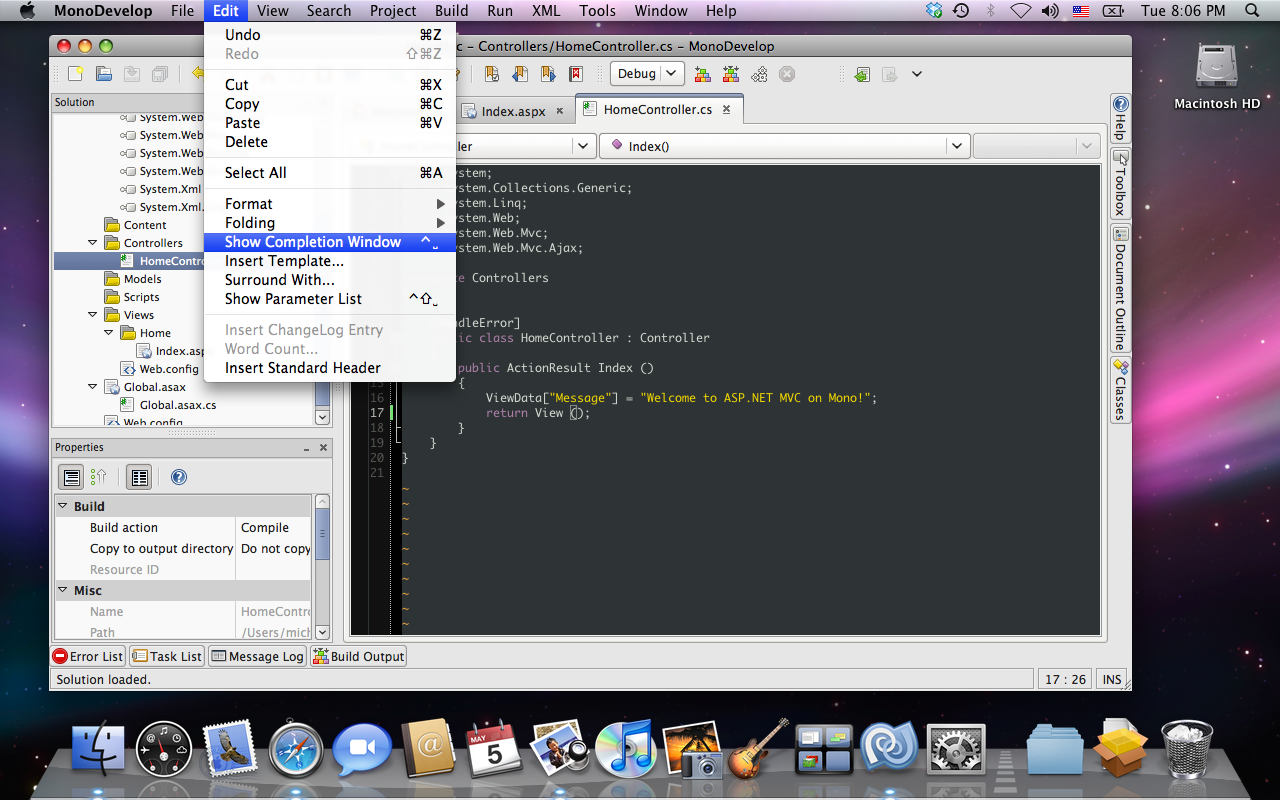 MonoDevelop with Mac main menu support