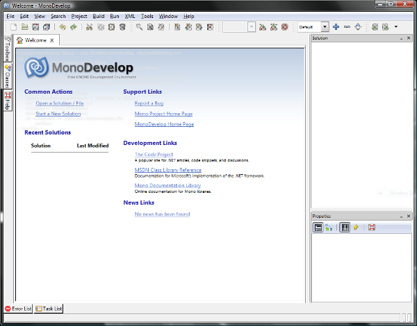 Screenshot of MonoDevelop 1.9.2 on Windows Vista 64