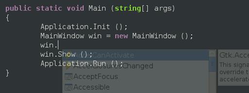 Screenshot of a semi-transparent code completion window.