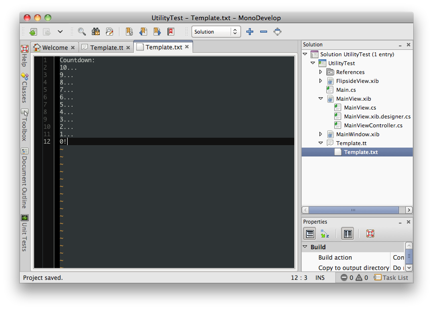 T4 output file in MonoDevelop
