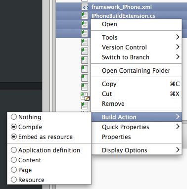 Changing the build action using the solution pad context menu