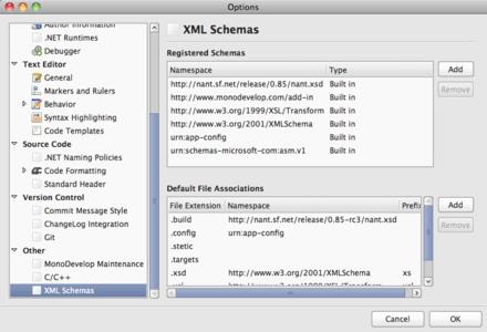 The custom XML schemas panel