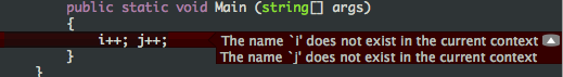 A collapsible inline error message bubble