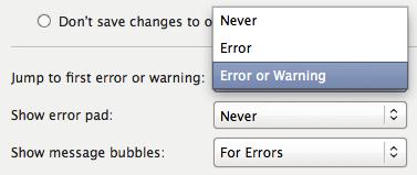 The inline error options