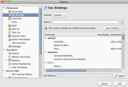 The key bindings panel in MonoDevelop